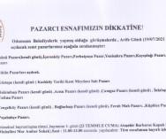 ARİFE GÜNÜ KURULACAK PAZARLARIMIZ.'